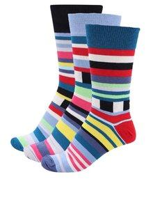 Sada tří pánských ponožek v modré a bílé barvě s pruhy Oddsocks Zack