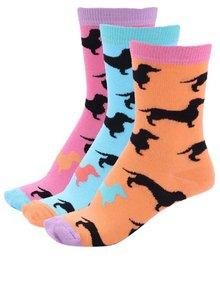 Súprava troch farebných dámskych ponožiek s jazvečíkmi Oddsocks Flo