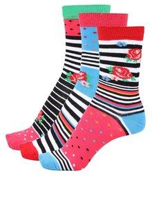Súprava troch dámskych ponožiek s kvietkami a prúžkami Oddsocks Milly