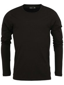 Bluză neagră Jack & Jones Basic cu mânecă lungă
