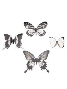 Čierna kolekcia 16-tich nástenných samolepiek v tvare motýľov Umbra