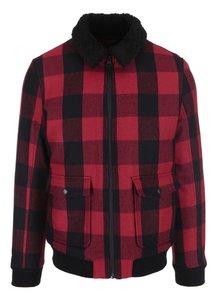 Červeno-čierna kockovaná bunda Selected Homme Teddy