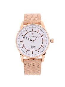 Unisex kožené hodinky ve zlato-růžové barvě TRIWA Niben