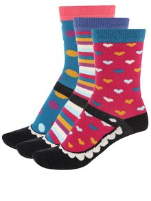 Sada tří dámských ponožek v modré a černé barvě se srdíčky a puntíky Oddsocks Lexi