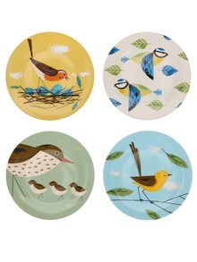 Porcelánová súprava štyroch farebných tanierikov s vtáčikmi Magpie Birdy
