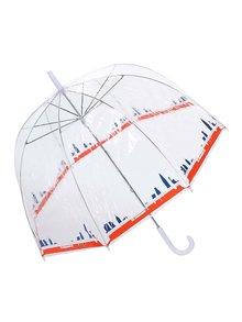 Transparentný dáždnik s panorámou New Yorku Lindy Lou Tricolor