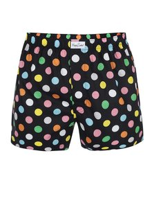 Boxeri negri cu buline mari Happy Socks Big Dots