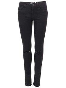 Černé skinny džíny s dírami na kolenou ONLY Royal Reg