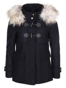 Tmavomodrý vlnený kabát s kožušinkou ONLY Jenny