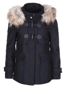 Tmavosivý vlnený kabát s kožušinkou ONLY Jenny