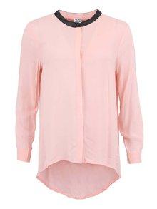 Růžová košile s koženkovým límcem VERO MODA Lola