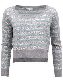 Pruhovaný svetr YAYA v šedo-tyrkysové barvě