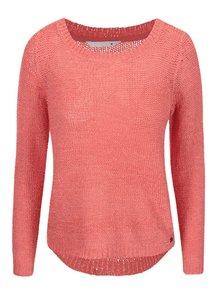 Pulover roz tricotat ONLY Geena cu decolteu rotund