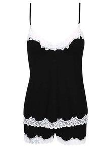 Čierne pyžamo s bielou čipkou Eldar Aria