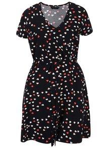Černé překládané šaty se srdíčky Dorothy Perkins Curve