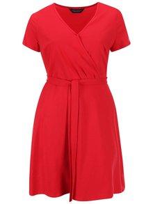 Červené překládané šaty Dorothy Perkins Curve