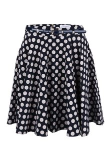 Tmavomodrá sukňa s krémovými bodkami Closet