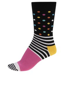 Șosete Happy Socks Stripe Dot de damă negre cu buline roz
