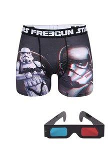 Černé boxerky s trojrozměrným potiskem a 3D brýlemi Star Wars Freegun