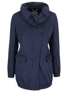 Modrý dámsky kabát s vysokým golierom Geox