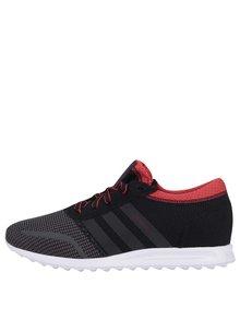 Červeno-čierne pánske tenisky adidas Originals Los Angeles