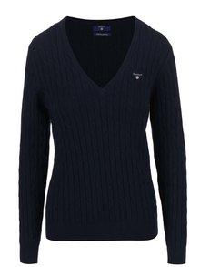 Modrý dámsky sveter s výstrihom do V GANT