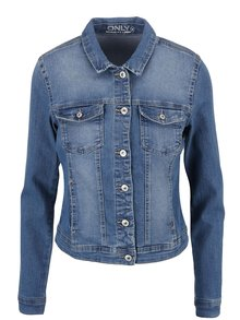 Jachetă albastră crop ONLY New din denim