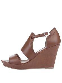 Hnedé kožené topánky na platforme Tamaris