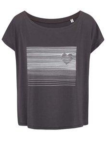 Sivé dámske oversize tričko so srdcom ZOOT Originál Heart Line