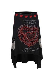 Čierna asymetrická sukňa s potlačou Desigual Laila