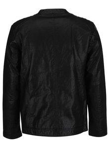 Čierna pánska koženková bunda s.Oliver