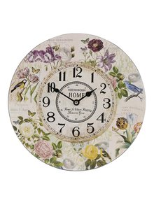 Krémové hodiny s květinami Dakls