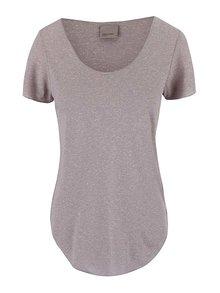 Světle šedé tričko s prodlouženou délkou VERO MODA Lua