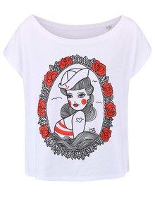 Biele dámske oversize tričko ZOOT Originál Pin Up