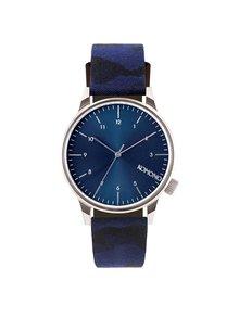 Unisex hodinky v striebornej farbe s modrým remienkom Komono Winston Print