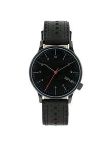 Čierne unisex hodinky s koženým remienkom Komono Winston Brogue