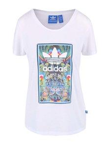 Biele dámske tričko s farebnou potlačou adidas Originals Bird Tongue