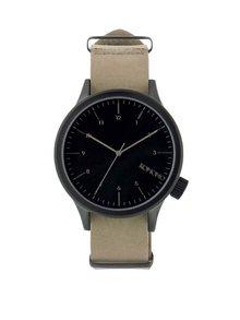 Čierne pánske hodinky s béžovým koženým remienkom Komono Magnus