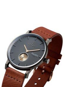 Šedé unisex hodinky s hnědým koženým páskem TRIWA Walter Falken