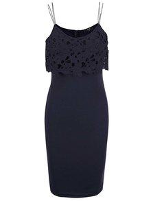Tmavomodré šaty s dierkovaným topom AX Paris
