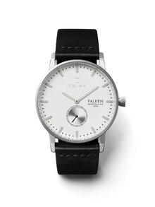 Pánske hodinky v striebornej farbe s čiernym koženým remienkom TRIWA Ivory Falken