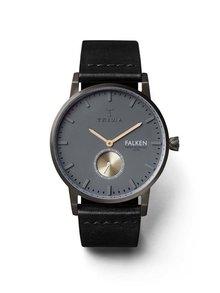 Čierne pánske hodinky s koženým remienkom TRIWA Walter Falken