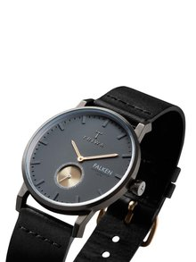 Černé unisex hodinky s koženým páskem TRIWA Walter Falken