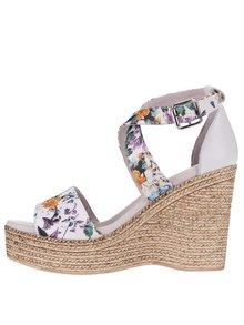 Krémové kožené květované sandály na platformě OJJU