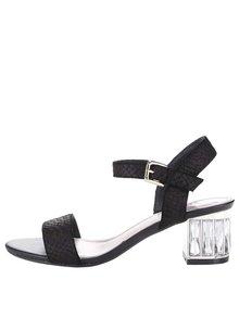 Černé kožené sandálky na podpatku Dune London Marcia
