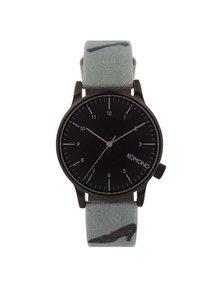 Čierne unisex hodinky so sivým vzorovaným textilným remienkom Komono Winston