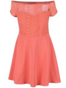 Korálové šaty s krajkovým topem Dorothy Perkins Petite