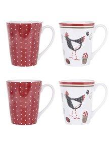 Sada čtyř porcelánových hrnků v červené a krémové barvě Cooksmart