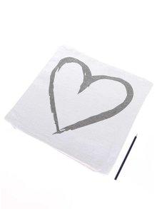 Față de pernă crem cu imprimeu inimă Dakls