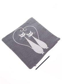 Krémovo-šedý povlak na polštář s motivem dvou koček Dakls